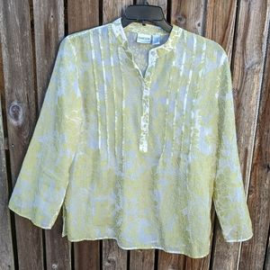 Chico's 2 Blouse Sheer Moss Green White Pintuck L